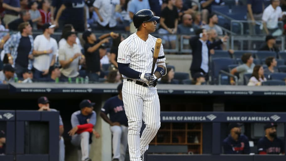 NEW YORK, NEW YORK - AUGUST 02:   Gleyber Torres #25 of the New York Yankees watches the flight of his first inning grand slam home run against the Boston Red Sox at Yankee Stadium on August 02, 2019 in New York City. (Photo by Jim McIsaac/Getty Images)