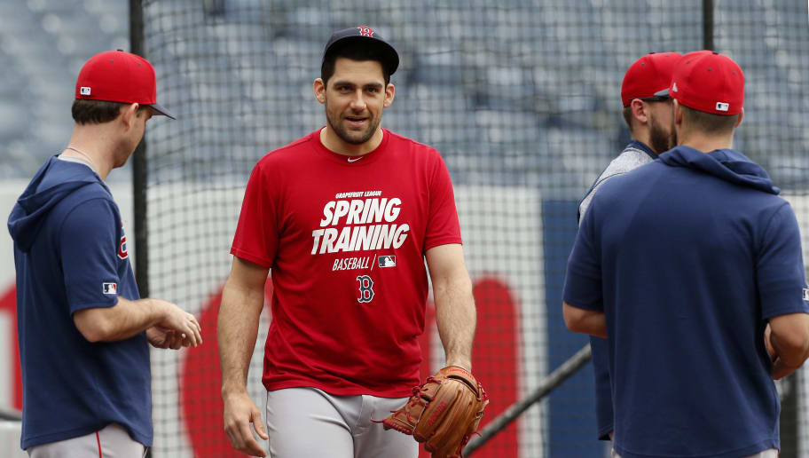 NEW YORK, NEW YORK - MAY 30:   Nathan Eovaldi #17 of the Boston Red Sox works out on the field prior to a game against the New York Yankees at Yankee Stadium on May 30, 2019 in New York City. (Photo by Jim McIsaac/Getty Images)