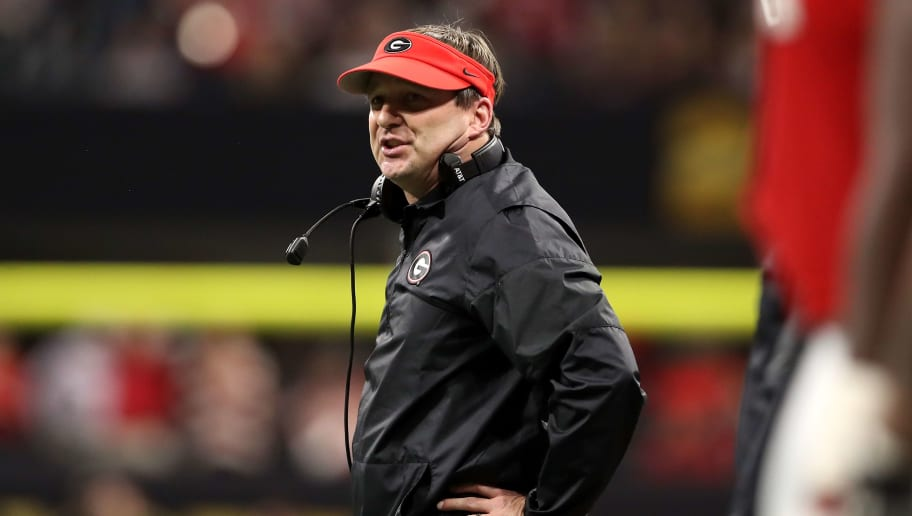 ATLANTA, GA - JANUARY 08:  Head coach Kirby Smart of the Georgia Bulldogs reacts to a play during the second quarter against the Alabama Crimson Tide in the CFP National Championship presented by AT&T at Mercedes-Benz Stadium on January 8, 2018 in Atlanta, Georgia.  (Photo by Christian Petersen/Getty Images)