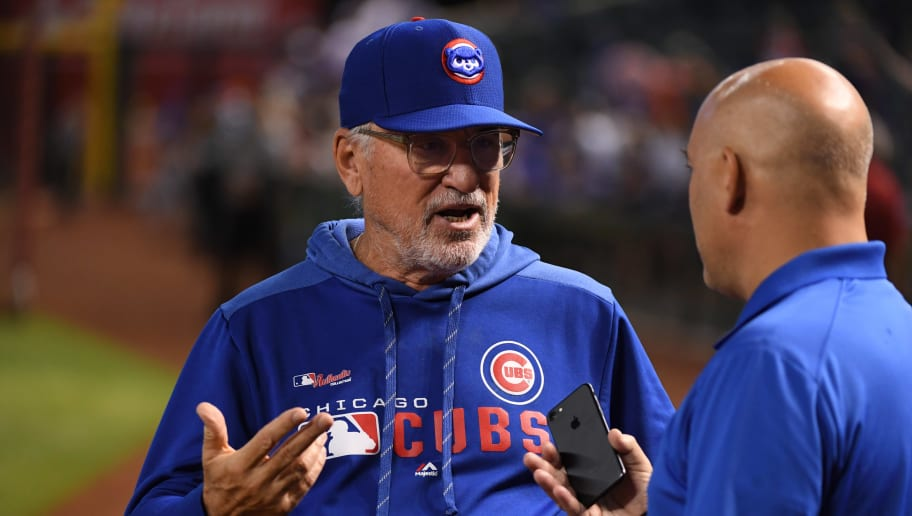 PHOENIX, ARIZONA - APRIL 27:  Joe Maddon #70 of the Chicago Cubs talks with the media prior to a game against the Arizona Diamondbacks at Chase Field on April 27, 2019 in Phoenix, Arizona. (Photo by Norm Hall/Getty Images)