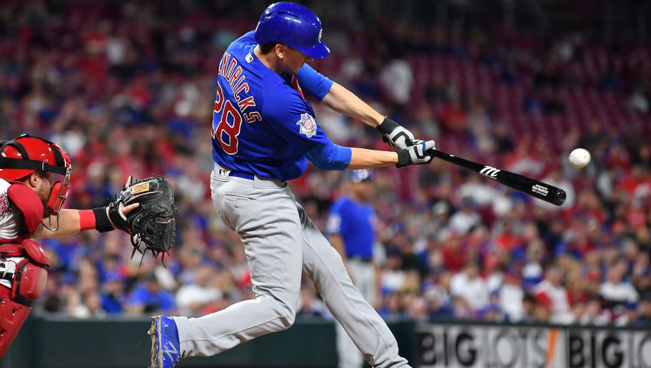 CINCINNATI, OH - MAY 14:  Kyle Hendricks #28 of the Chicago Cubs hits a single in the ninth inning against the Cincinnati Reds at Great American Ball Park on May 14, 2019 in Cincinnati, Ohio. Chicago defeated Cincinnati 3-1. (Photo by Jamie Sabau/Getty Images)