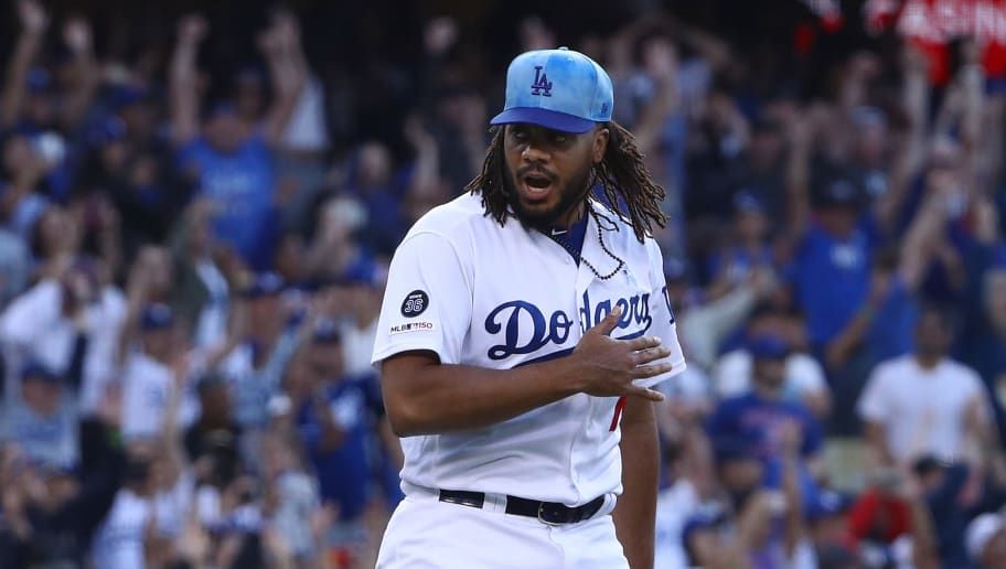 LOS ANGELES, CALIFORNIA - JUNE 16: Closing pitcher Kenley Jansen #74 of the Los Angeles Dodgers reacts after the last out to end the game against the Chicago Cubs at Dodger Stadium on June 16, 2019 in Los Angeles, California. The Dodgers defeated the Cubs 3-2. (Photo by Victor Decolongon/Getty Images)