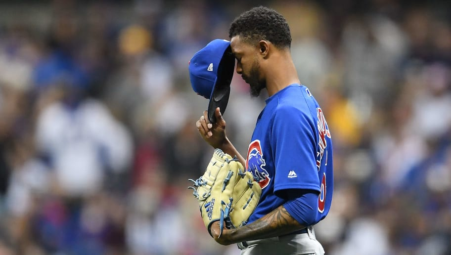 MILWAUKEE, WI - APRIL 06:  Carl Edwards Jr. #6 of the Chicago Cubs prepares to take the mound in the eighth  inning against the Milwaukee Brewers at Miller Park on April 6, 2018 in Milwaukee, Wisconsin.  (Photo by Stacy Revere/Getty Images)