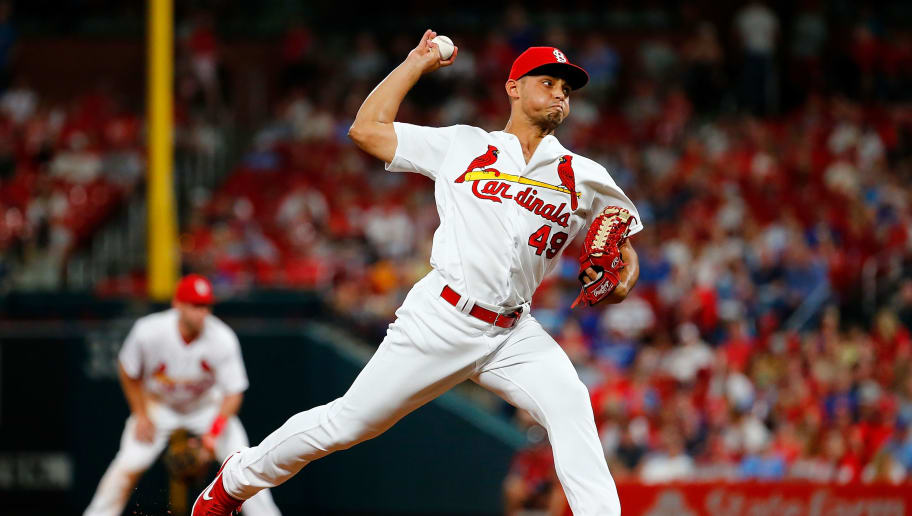ST LOUIS, MO - MAY 31: Jordan Hicks #49 of the St. Louis Cardinals delivers a pitch against the Chicago Cubs in the ninth inning at Busch Stadium on May 31, 2019 in St Louis, Missouri. (Photo by Dilip Vishwanat/Getty Images)