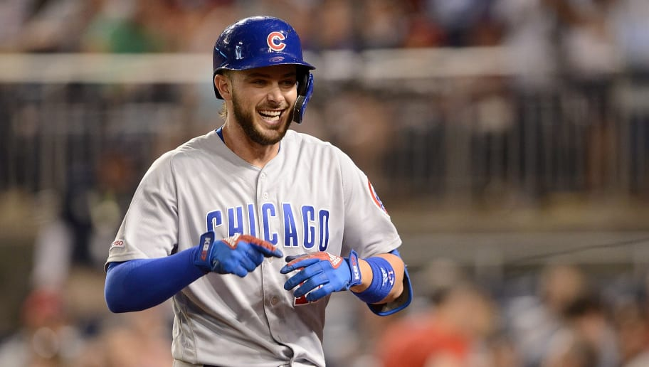 WASHINGTON, DC - MAY 17:  Kris Bryant #17 of the Chicago Cubs celebrates after hitting a home run in the eighth inning against the Washington Nationals at Nationals Park on May 17, 2019 in Washington, DC.  (Photo by Greg Fiume/Getty Images)