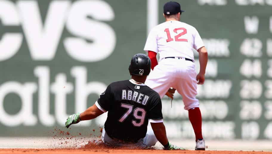 BOSTON, MA - JUNE 10:  Jose Abreu #79 of the Chicago White Sox slides into second base in the first inning of the game against the Boston Red Sox at Fenway Park on June 10, 2018 in Boston, Massachusetts.  (Photo by Omar Rawlings/Getty Images)