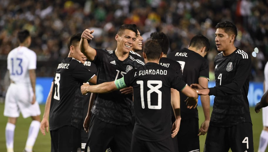 SAN DIEGO, CALIFORNIA - MARCH 22: Hector Moreno #15 of Mexico, left, is congratulated by Andres Guardado #18 after scoring during the International Friendly match between Mexico and Chile at SDCCU Stadium on March 22, 2019 in San Diego.  (Photo by Denis Poroy/Getty Images)