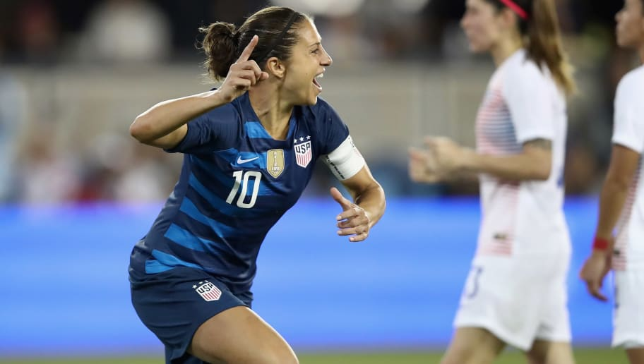 SAN JOSE, CA - SEPTEMBER 04:  Carli Lloyd of the United States celebrates her first goal of the night against Chile during their match at Avaya Stadium on September 4, 2018 in San Jose, California.  (Photo by Ezra Shaw/Getty Images)