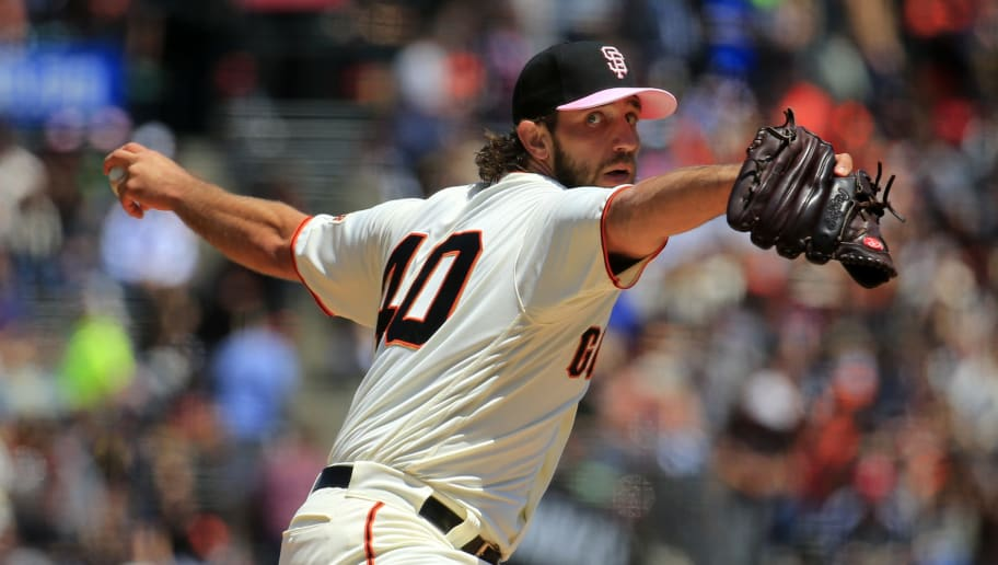 SAN FRANCISCO, CALIFORNIA - MAY 12: Madison Bumgarner #40 of the San Francisco Giant pitches during the first inning against the Cincinnati Reds at Oracle Park on May 12, 2019 in San Francisco, California. (Photo by Daniel Shirey/Getty Images)