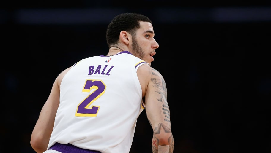 LOS ANGELES, CA - JANUARY 13:  Lonzo Ball #2 of the Los Angeles Lakers looks on after taking a shot during the first half of a game against the Cleveland Cavaliers at Staples Center on January 13, 2019 in Los Angeles, California.  NOTE TO USER: User expressly acknowledges and agrees that, by downloading and or using this photograph, User is consenting to the terms and conditions of the Getty Images License Agreement.  (Photo by Sean M. Haffey/Getty Images)