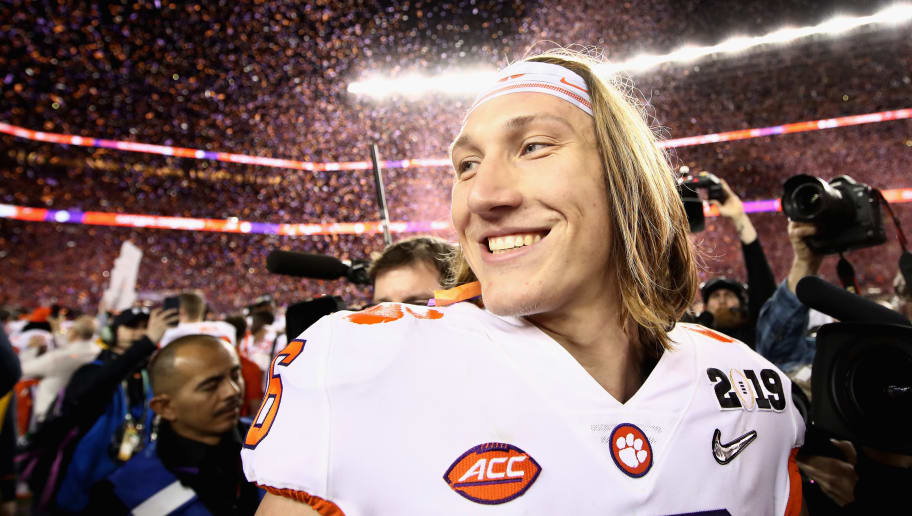 SANTA CLARA, CA - JANUARY 07:  Trevor Lawrence #16 of the Clemson Tigers reacts after his teams 44-16 win over the Alabama Crimson Tide in the CFP National Championship presented by AT&T at Levi's Stadium on January 7, 2019 in Santa Clara, California.  (Photo by Ezra Shaw/Getty Images)