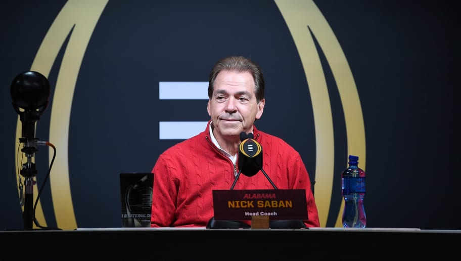 SAN JOSE, CA - JANUARY 05:  Head Coach Nick Saban of the Alabama Crimson Tide speaks to the media during the College Football Playoff National Championship Media Day at SAP Center on January 5, 2019 in San Jose, California.  (Photo by Thearon W. Henderson/Getty Images)