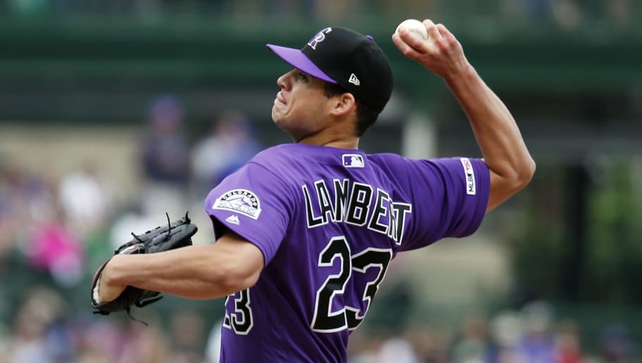 CHICAGO, ILLINOIS - JUNE 06: Peter Lambert #23 of the Colorado Rockies pitches in the first inning during the game against the Chicago Cubs at Wrigley Field on June 06, 2019 in Chicago, Illinois. (Photo by Nuccio DiNuzzo/Getty Images)