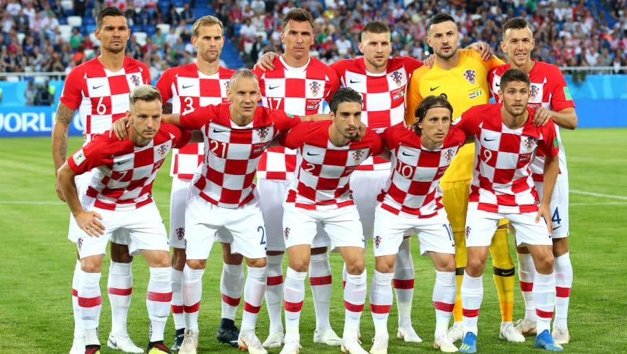 3601b4840f0 KALININGRAD, RUSSIA - JUNE 16: Croatia team lines up prior to the 2018 FIFA