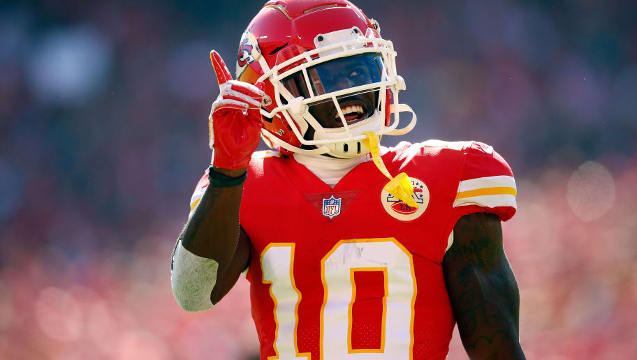 KANSAS CITY, MO - OCTOBER 28:  Wide receiver Tyreek Hill #10 of the Kansas City Chiefs reacts after catching a pass during the game against the Denver Broncos at Arrowhead Stadium on October 28, 2018 in Kansas City, Missouri.  (Photo by David Eulitt/Getty Images)