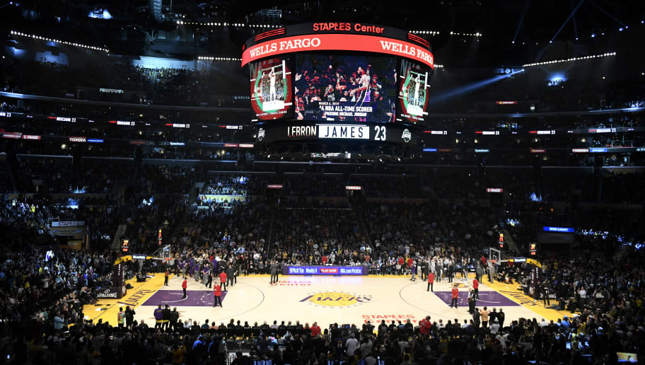 LOS ANGELES, CALIFORNIA - MARCH 06: A general view after LeBron James #23 of the Los Angeles Lakers scored to pass Michael Jordan and move to #4 on the NBA's all-time scoring list during the second quarter against the Denver Nuggets at Staples Center on March 06, 2019 in Los Angeles, California. (Photo by Robert Laberge/Getty Images)