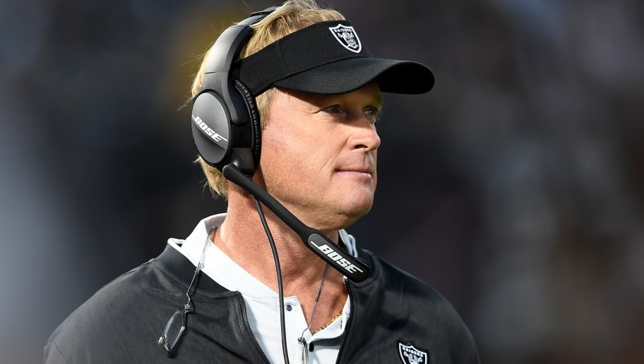 OAKLAND, CA - AUGUST 10:  Head coach Jon Gruden of the Oakland Raiders looks on from the sidelines against the Detroit Lions in the second quarter of an NFL preseason football game at Oakland Alameda Coliseum on August 10, 2018 in Oakland, California.  (Photo by Thearon W. Henderson/Getty Images)