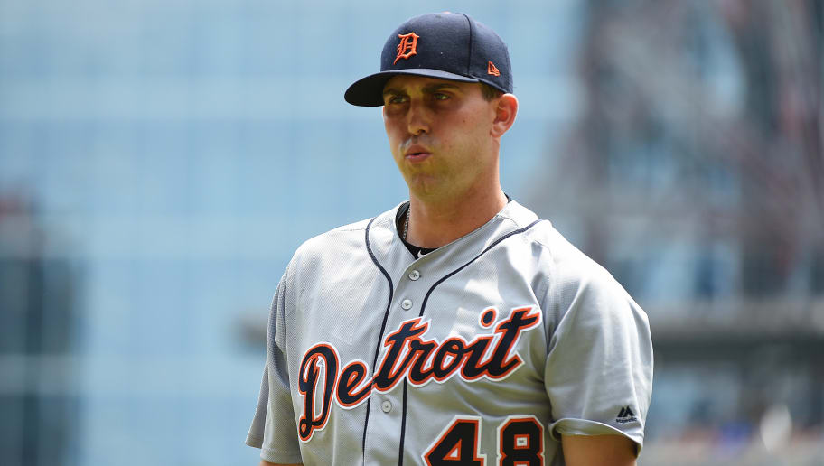 ATLANTA, GEORGIA - JUNE 02: Matthew Boyd #48 of the Detroit Tigers walks to the dugout after the third inning against the Atlanta Braves at SunTrust Park on June 02, 2019 in Atlanta, Georgia. (Photo by Logan Riely/Getty Images)
