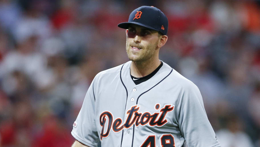 CLEVELAND, OH - JULY 18: Starting pitcher Matthew Boyd #48 of the Detroit Tigers walks off the field after giving up two runs to the Cleveland Indians during the sixth inning at Progressive Field on July 18, 2019 in Cleveland, Ohio. (Photo by Ron Schwane/Getty Images)