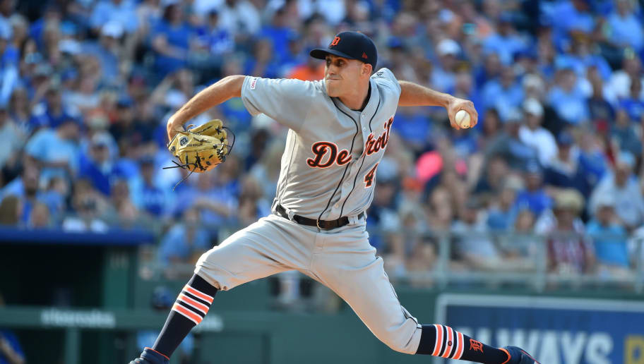 KANSAS CITY, MISSOURI - JULY 13:  Starting pitcher Matthew Boyd #48 of the Detroit Tigers pitches in the first inning against the Kansas City Royals at Kauffman Stadium on July 13, 2019 in Kansas City, Missouri. (Photo by Ed Zurga/Getty Images)