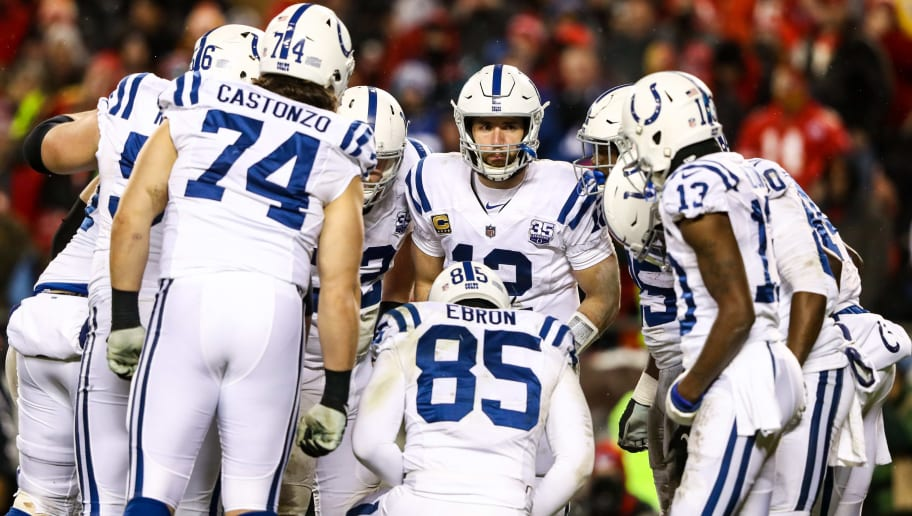 KANSAS CITY, MO - JANUARY 12: Andrew Luck #12 of the Indianapolis Colts calls a play in the huddle during the fourth quarter of the AFC Divisional Round playoff game against the Kansas City Chiefs at Arrowhead Stadium on January 12, 2019 in Kansas City, Missouri. (Photo by Jamie Squire/Getty Images)