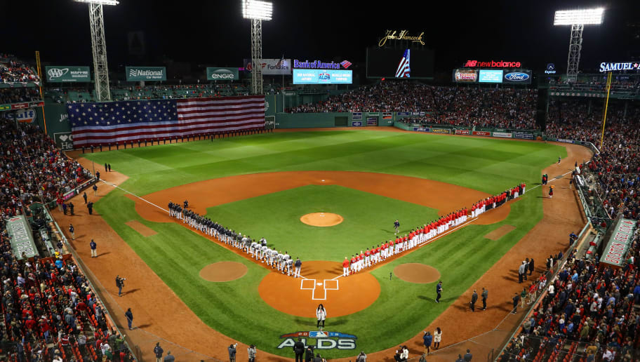 BOSTON, MA - OCTOBER 05:  An overall view of the New York Yankees and Boston Red Sox during the national anthem for Game One of the American League Division Series at Fenway Park on October 5, 2018 in Boston, Massachusetts.  (Photo by Tim Bradbury/Getty Images)