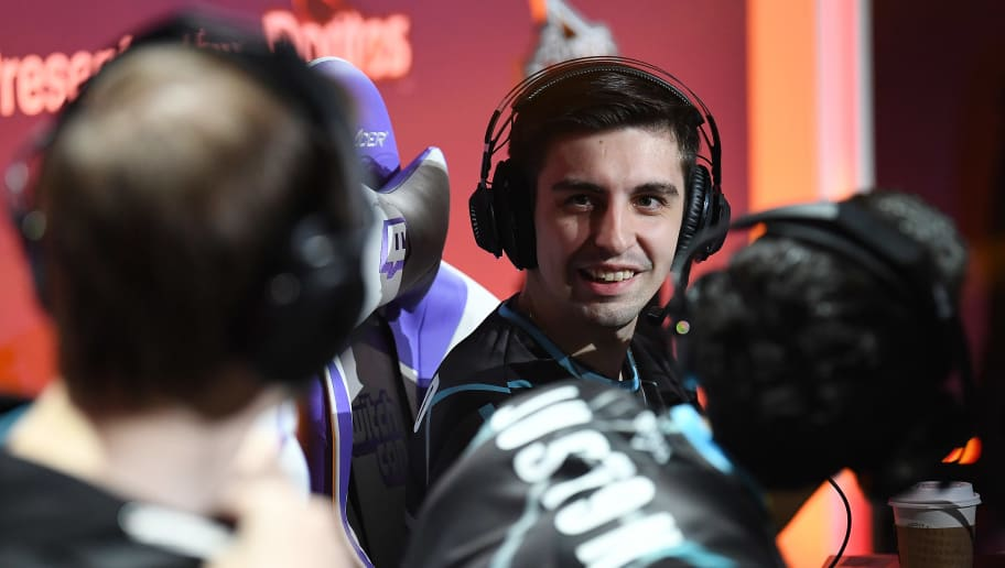 """SAN JOSE, CA - OCTOBER 27: Michael """"Shroud"""" Grzesiek reacts after winning a game of Call of Duty: Black Ops 4 during the Doritos Bowl 2018 at TwitchCon 2018 in the San Jose Convention Center on October 27, 2018 in San Jose, California. (Photo by Robert Reiners/Getty Images)"""