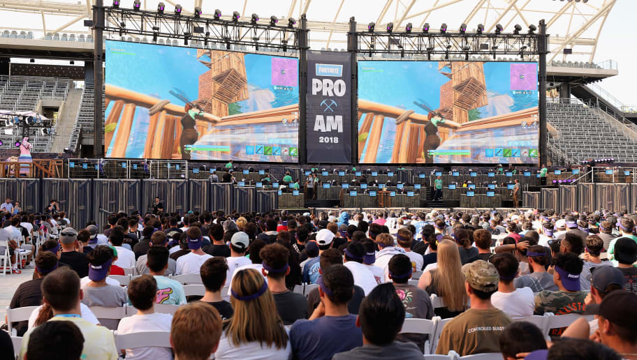 LOS ANGELES, CA - JUNE 12:  Game enthusiasts and industry personnel attend the Epic Games Fortnite E3 Tournament at the Banc of California Stadium on June 12, 2018 in Los Angeles, California.  (Photo by Christian Petersen/Getty Images)