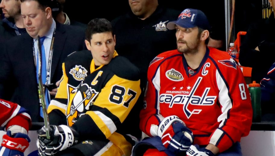 LOS ANGELES, CA - JANUARY 28:  Sidney Crosby #87 of the Pittsburgh Penguins (L) talks with Alex Ovechkin #8 of the Washington Capitals in the Gatorade NHL Skills Challenge Relay during the 2017 Coors Light NHL All-Star Skills Competition as part of the 2017 NHL All-Star Weekend at STAPLES Center on January 28, 2017 in Los Angeles, California.  (Photo by Bruce Bennett/Getty Images)