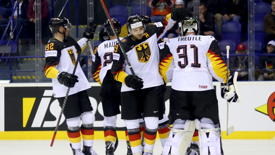 KOSICE, SLOVAKIA - MAY 14: Leon Draisaitl #29 of Germany celebrate with his team mates the 3rd goal during the 2019 IIHF Ice Hockey World Championship Slovakia group A game between Germany and France at Steel Arena on May 14, 2019 in Kosice, Slovakia. (Photo by Martin Rose/Getty Images)