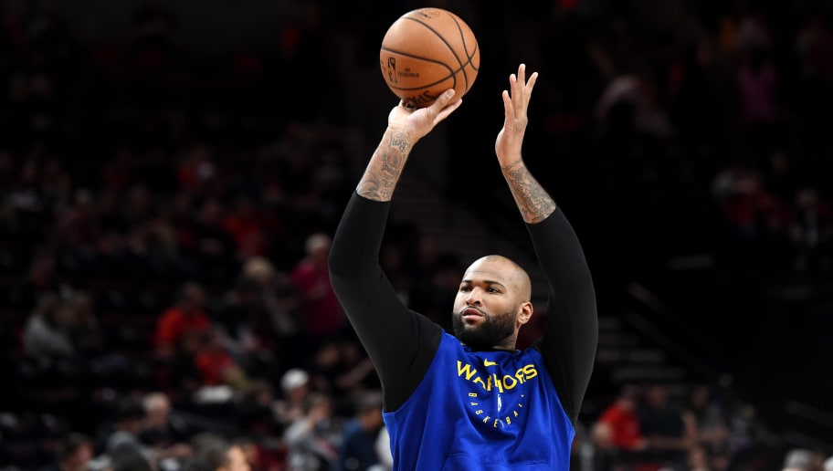 PORTLAND, OREGON - MAY 18: DeMarcus Cousins #0 of the Golden State Warriors warms up before game three of the NBA Western Conference Finals against the Portland Trail Blazers at Moda Center on May 18, 2019 in Portland, Oregon. NOTE TO USER: User expressly acknowledges and agrees that, by downloading and or using this photograph, User is consenting to the terms and conditions of the Getty Images License Agreement. (Photo by Steve Dykes/Getty Images)