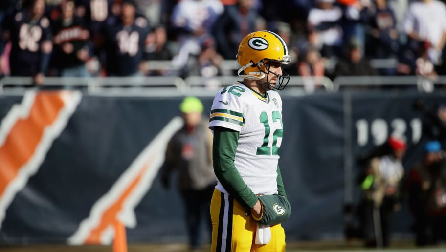 CHICAGO, IL - DECEMBER 16:  Aaron Rodgers #12 of the Green Bay Packers waits for the start of play during a television commercial against the Chicago Bears at Soldier Field on December 16, 2018 in Chicago, Illinois.  (Photo by Jonathan Daniel/Getty Images)