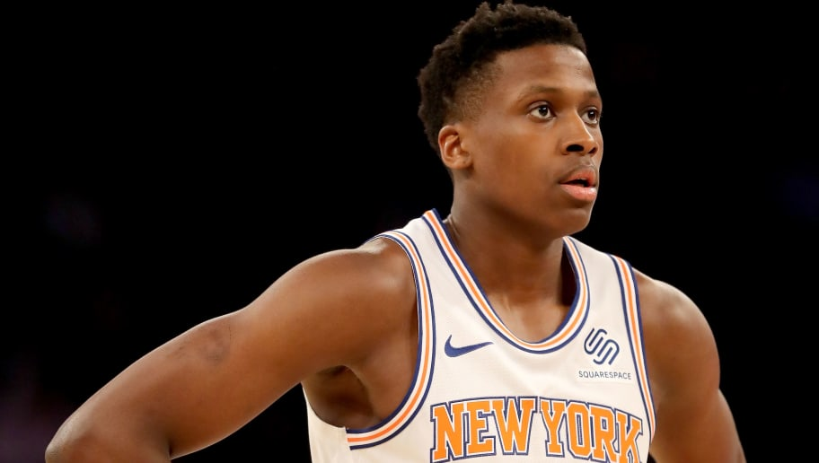 NEW YORK, NEW YORK - JANUARY 23:   Frank Ntilikina #11 of the New York Knicks looks on during a free throw in the first quarter against the Houston Rockets at Madison Square Garden on January 23, 2019 in New York City.NOTE TO USER: User expressly acknowledges and agrees that, by downloading and or using this photograph, User is consenting to the terms and conditions of the Getty Images License Agreement.  (Photo by Elsa/Getty Images)