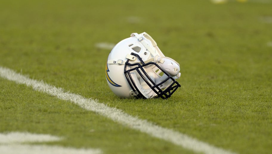 SAN DIEGO, CA-OCTOBER-14:  The football helmet of John Phillips #83 of the San Diego Chargers lays on the field during the football game against Indianapolis Colts at Qualcomm Stadium October 14, 2013 in San Diego, California.  (Photo by Kevork Djansezian/Getty Images)