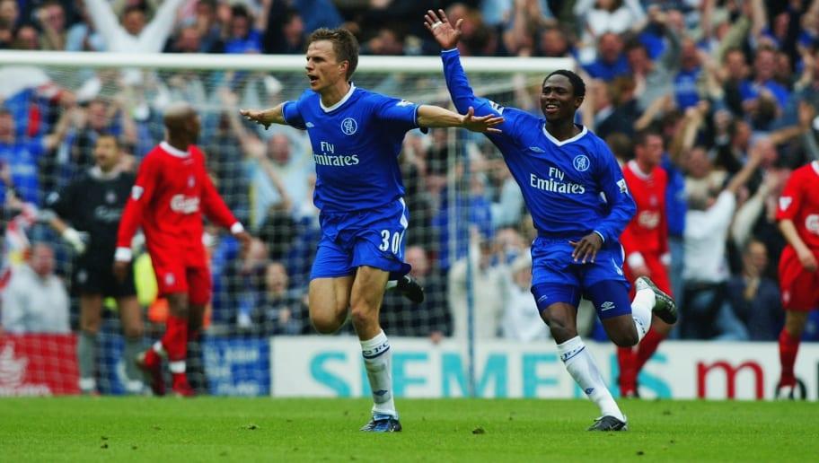 Jesper Gronkjaer of Chelsea celebrates scoring the winning goal