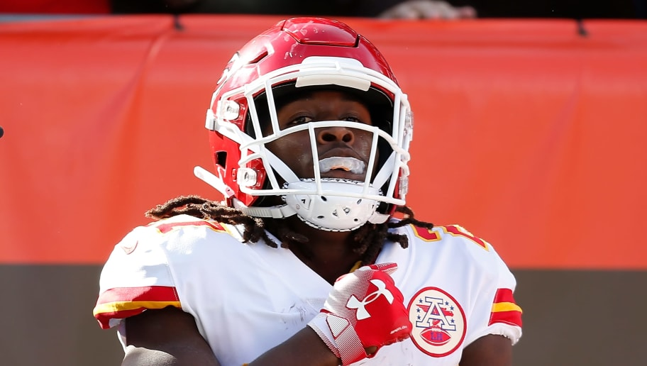 CLEVELAND, OH - NOVEMBER 04:  Kareem Hunt #27 of the Kansas City Chiefs celebrates his touchdown during the first quarter against the Cleveland Browns at FirstEnergy Stadium on November 4, 2018 in Cleveland, Ohio. (Photo by Kirk Irwin/Getty Images)