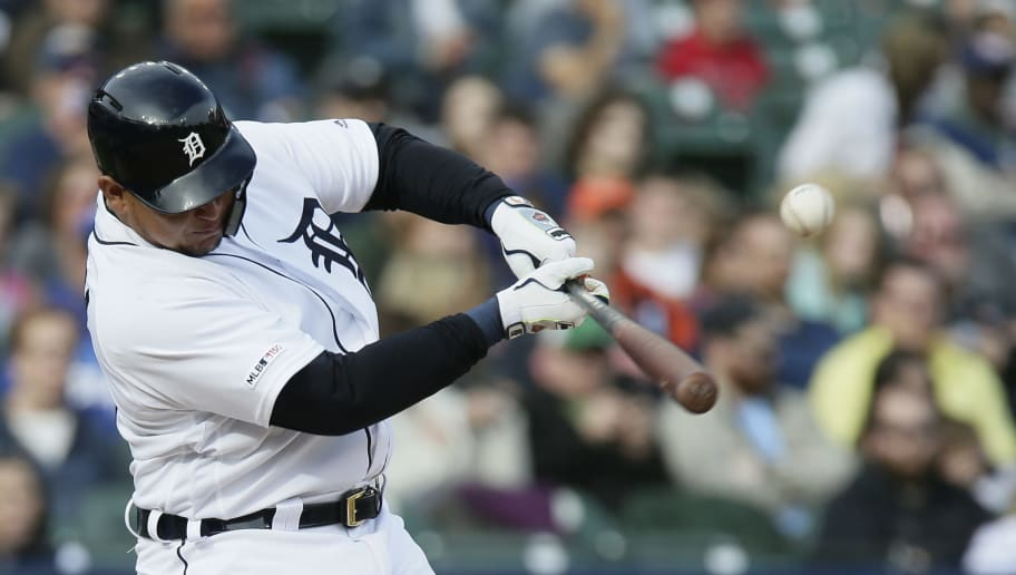 DETROIT, MI - MAY 4:  Miguel Cabrera #24 of the Detroit Tigers singles against the Kansas City Royals during the fifth inning at Comerica Park on May 4, 2019 in Detroit, Michigan. The Royals defeated the Tigers 15-3. (Photo by Duane Burleson/Getty Images)