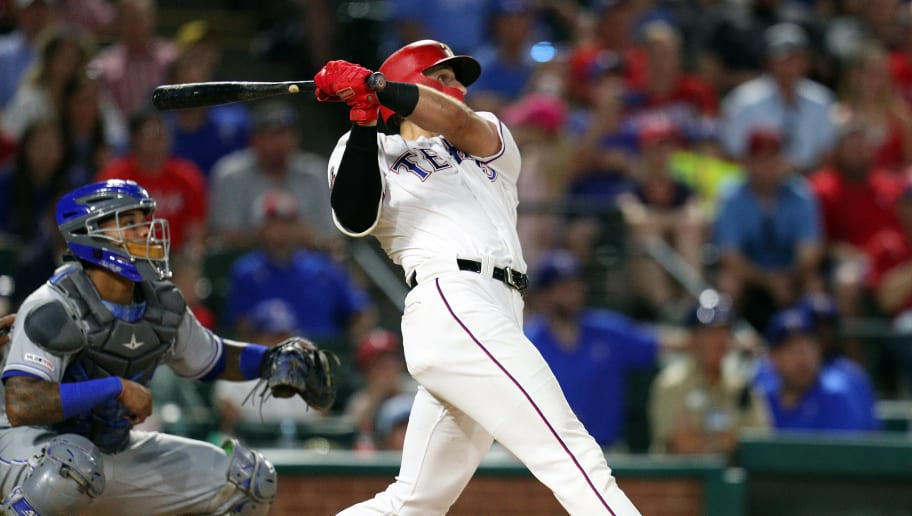 ARLINGTON, TEXAS - MAY 31: Joey Gallo #13 of the Texas Rangers watches his grand slam home run against the Kansas City Royals in the sixth inning at Globe Life Park in Arlington on May 31, 2019 in Arlington, Texas. (Photo by Richard Rodriguez/Getty Images)