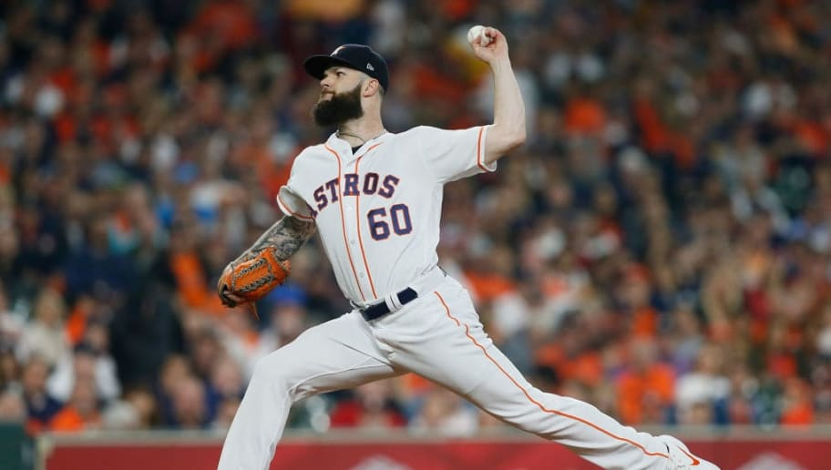 HOUSTON, TX - OCTOBER 16:  Dallas Keuchel #60 of the Houston Astros pitches in the first inning against the Boston Red Sox during Game Three of the American League Championship Series at Minute Maid Park on October 16, 2018 in Houston, Texas.  (Photo by Bob Levey/Getty Images)