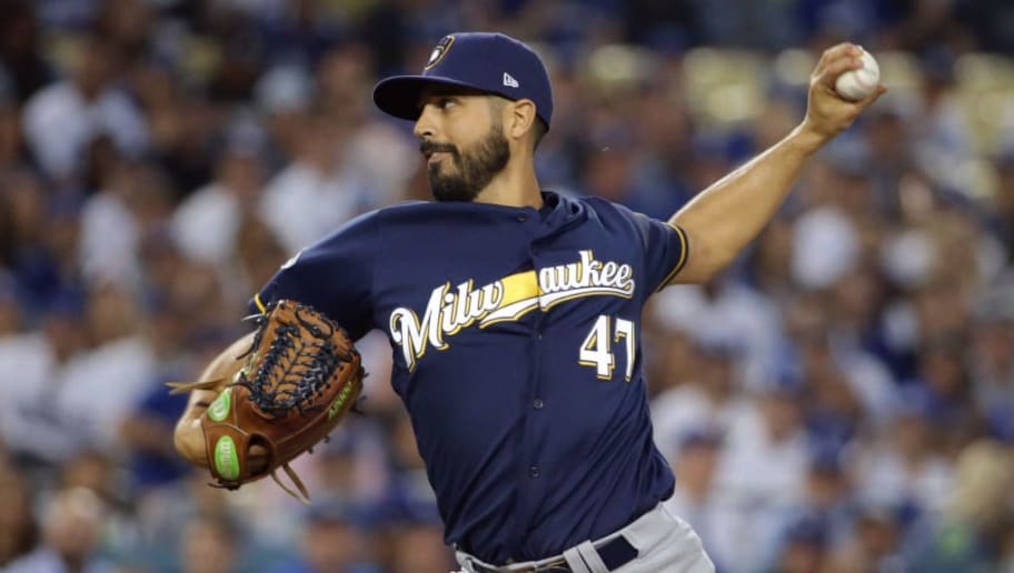 LOS ANGELES, CA - OCTOBER 16:  Pitcher Gio Gonzalez #47 of the Milwaukee Brewers pitches during the first inning of Game Four of the National League Championship Series against the Los Angeles Dodgers at Dodger Stadium on October 16, 2018 in Los Angeles, California.  (Photo by Jeff Gross/Getty Images)