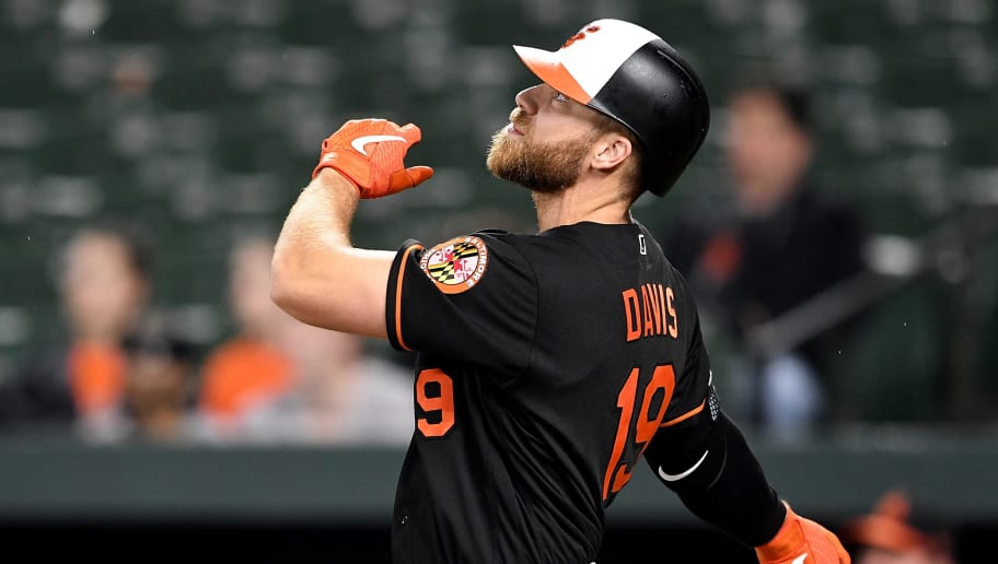 BALTIMORE, MD - MAY 10: Chris Davis #19 of the Baltimore Orioles hits a home run in the seventh inning against the Los Angeles Angels at Oriole Park at Camden Yards on May 10, 2019 in Baltimore, Maryland.  (Photo by Greg Fiume/Getty Images)