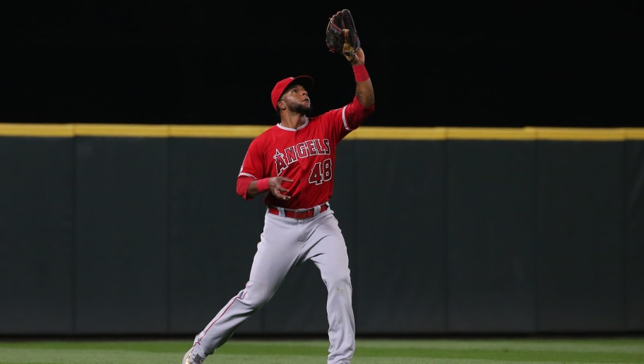 SEATTLE, WASHINGTON - MAY 30: Cesar Puello #48 of the Los Angeles Angels catches the ball for the final out to defeat the Seattle Mariners 9-3 at T-Mobile Park on May 30, 2019 in Seattle, Washington. (Photo by Abbie Parr/Getty Images)