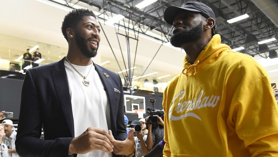 EL SEGUNDO, CA - JULY 13: Anthony Davis (R) talks with  LeBron James after during a press conference where Davis was introduced as the newest player of the Los Angeles Lakers at UCLA Health Training Center on July 13, 2019 in El Segundo, California. NOTE TO USER: User expressly acknowledges and agrees that, by downloading and/or using this Photograph, user is consenting to the terms and conditions of the Getty Images License Agreement. (Photo by Kevork Djansezian/Getty Images)