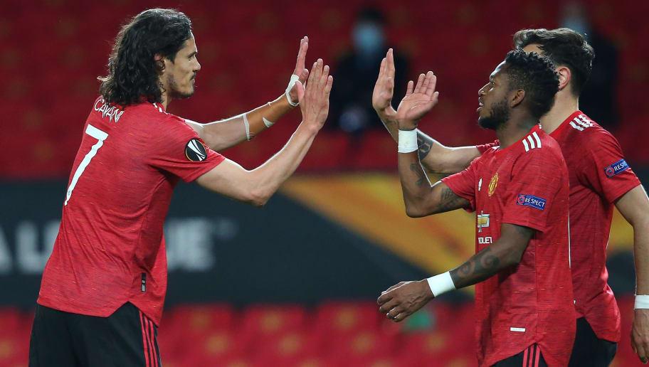 Edinson Cavani s'est montré très complice avec Fred et Bruno Fernandes ce jeudi.