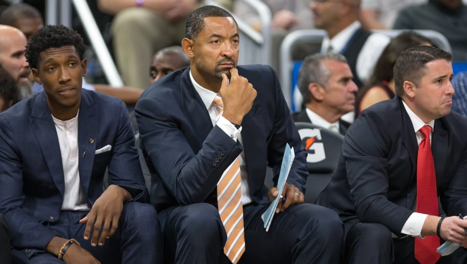 ORLANDO, FL - OCTOBER 26: Josh Richardson #0 and assistant coach Juwan Howard of the Miami Heat on the bench on opening night against the Orlando Magic on October 26, 2016 at Amway Center in Orlando, Florida. NOTE TO USER: User expressly acknowledges and agrees that, by downloading and or using this photograph, User is consenting to the terms and conditions of the Getty Images License Agreement. (Photo by Manuela Davies/Getty Images)