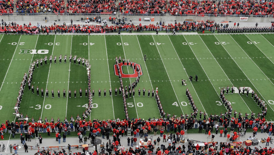 COLUMBUS, OH - NOVEMBER 24: The Ohio State Marching Band performs the Script Ohio before the game against the Michigan Wolverines at Ohio Stadium on November 24, 2012 in Columbus, Ohio. (Photo by Jamie Sabau/Getty Images)