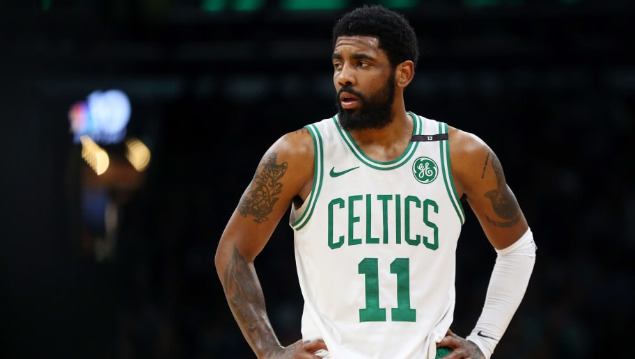 BOSTON, MASSACHUSETTS - MAY 06: Kyrie Irving #11 of the Boston Celtics looks on during the second half of Game 4 of the Eastern Conference Semifinals against the Milwaukee Bucks during the 2019 NBA Playoffs at TD Garden on May 06, 2019 in Boston, Massachusetts. The Bucks defeat the Celtics 113-101. (Photo by Maddie Meyer/Getty Images)