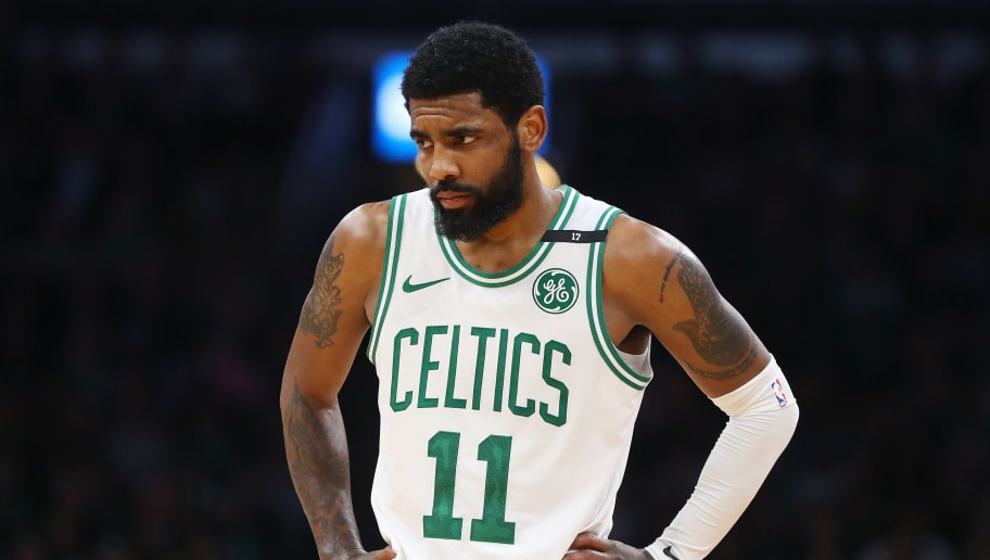 BOSTON, MASSACHUSETTS - MAY 03: Kyrie Irving #11 of the Boston Celtics looks on during the second half of Game 3 of the Eastern Conference Semifinals against the Milwaukee Bucks during the 2019 NBA Playoffs at TD Garden on May 03, 2019 in Boston, Massachusetts. The Bucks defeat the Celtics 123 - 116.  (Photo by Maddie Meyer/Getty Images)