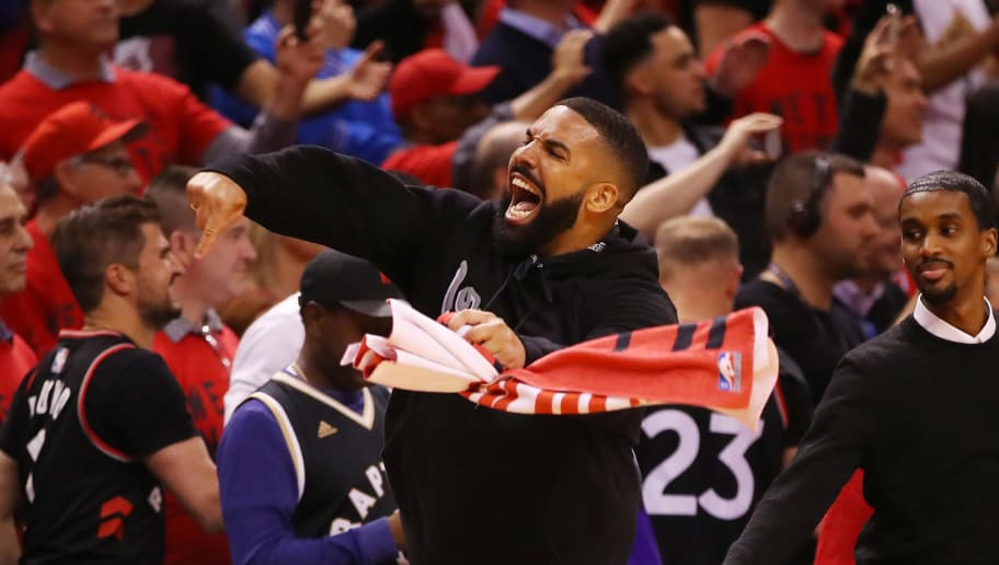 TORONTO, ONTARIO - MAY 25: Rapper Drake reacts during game six of the NBA Eastern Conference Finals between the Milwaukee Bucks and the Toronto Raptors at Scotiabank Arena on May 25, 2019 in Toronto, Canada. NOTE TO USER: User expressly acknowledges and agrees that, by downloading and or using this photograph, User is consenting to the terms and conditions of the Getty Images License Agreement. (Photo by Gregory Shamus/Getty Images)