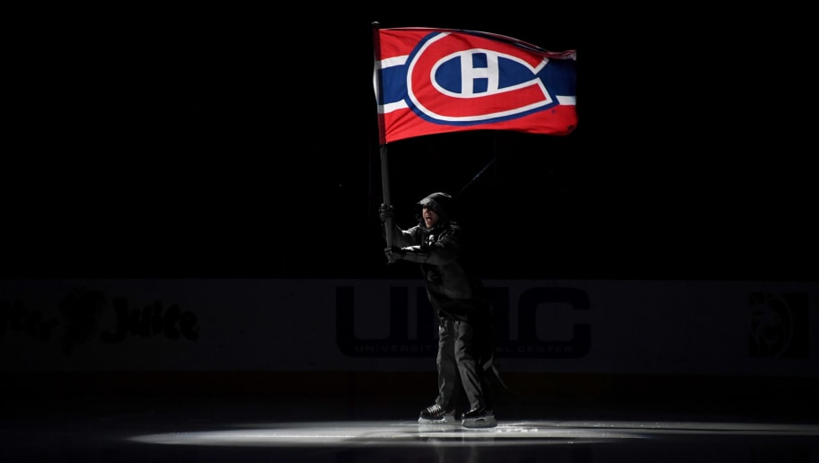 LAS VEGAS, NV - FEBRUARY 17:  A character with a Montreal Canadiens flag skates on the ice during a pregame program before the Canadiens' game against the Vegas Golden Knights at T-Mobile Arena on February 17, 2018 in Las Vegas, Nevada. The Golden Knights won 6-3.  (Photo by Ethan Miller/Getty Images)